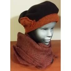 Komplet damski beret z trójkątną chustą